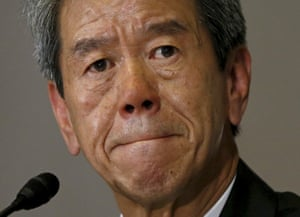Former Toshiba president and CEO Hisao Tanaka attending a news conference in Tokyo