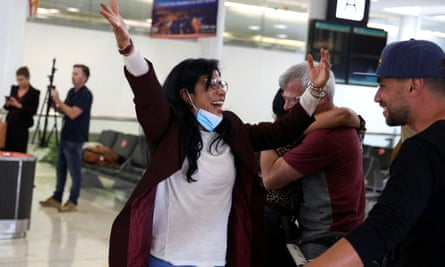 Deccy Ledezma is greeted by friends and family at Sydney airport