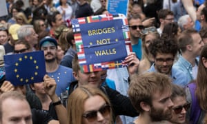 Tens of thousands of protesters march along Piccadilly in a March for Europe protest against Great Britain's decision to leave the European Union.