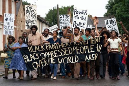 The landmark protest against police harassment in Steve McQueen's film Mangrove.