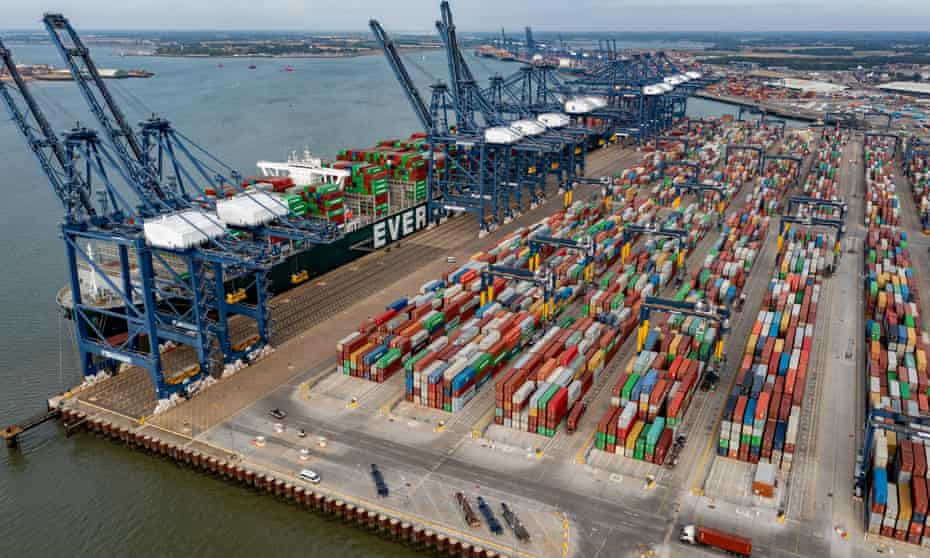 Shipping containers at Felixstowe port this week.