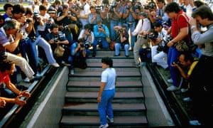 'The focus of intense public scrutiny': Diego Maradona faces the press.