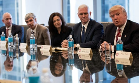Digital powers behind the throne: Donald Trump and Mike Pence confer with Amazon's Jeff Bezos, Larry Page of Google and Sheryl Sandberg of Facebook at Trump Tower.
