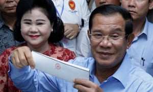 Cambodian prime minister Hun Sen and wife Bun Rany