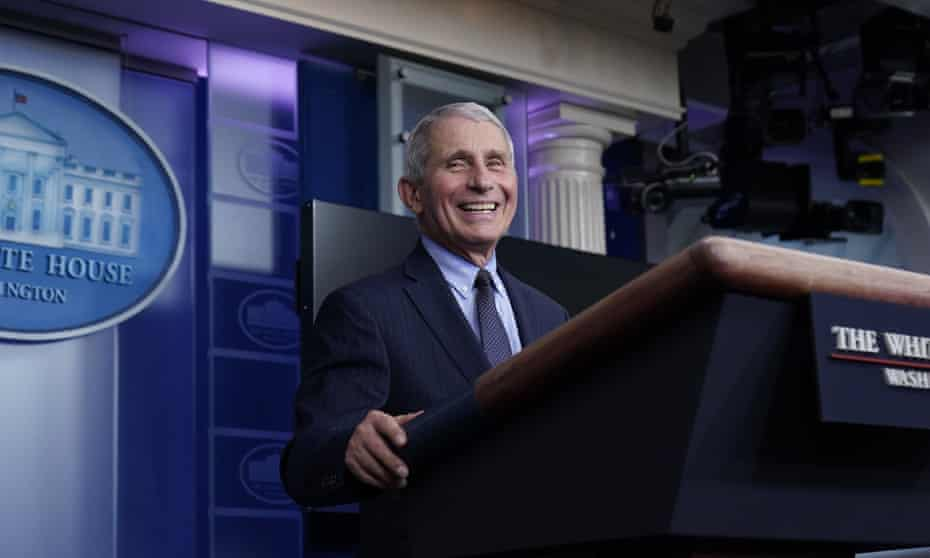 Look who's smiling: Dr Anthony Fauci, director of the National Institute of Allergy and Infectious Diseases, at the White House.