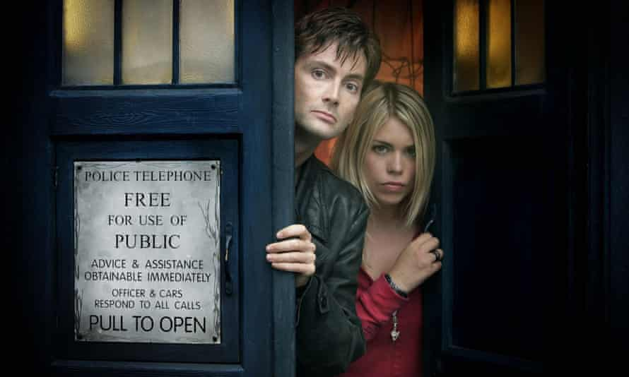 With David Tenant in Doctor Who in 2005.