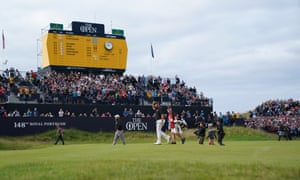 Shane Lowry walks on to the 18th green at Portrush