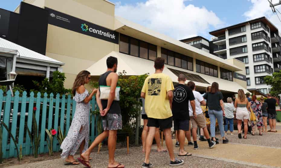 Young people queue outside Centrelink on the Gold Coast