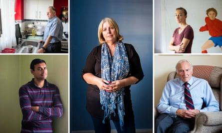 Clockwide from top left: Peter Moss, Julie Powell, Amy Carr, John Hyde, Jaabir Ramlugon
