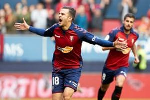 Juan Villar celebrates his goal against Alavés