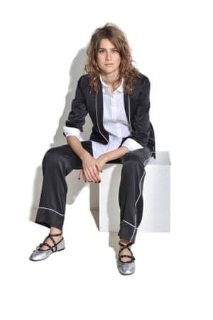 WHITE NIGHTS Transform your pyjamas into a relaxed suit: layer over a white shirt. Pyjama set £460, Equipment net-a-porter.com White shirt £55 cosstores.com Silver ballet pumps £69 topshop.com