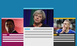 Guardian Morning Briefing. Theresa May with Jamie Vardy and John Boyega