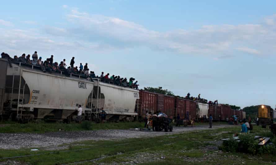 Central American migrants used to travel on top of freight trains, known as the Beast, which leave from Arriaga.