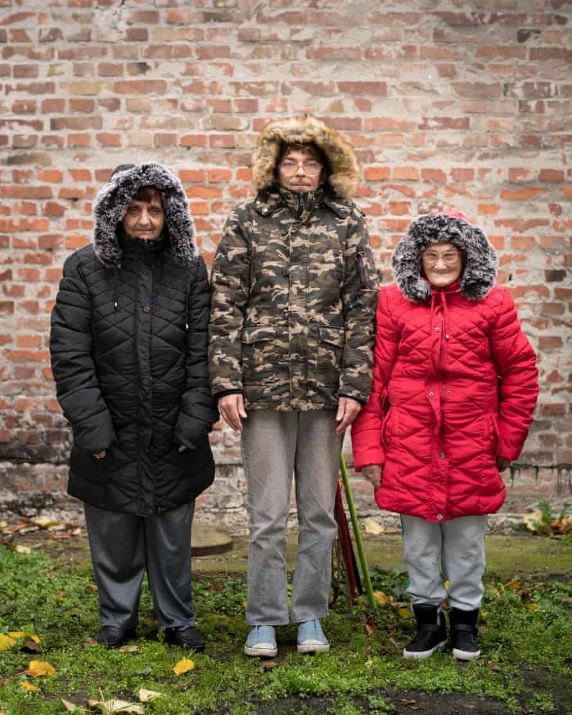 Nada Sobasic, 61, Hrvoje Sebalj, 38, Gabriejela Butorac, 78, outside their apartment