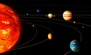 An artist rendition shows the main bodies of the solar system.