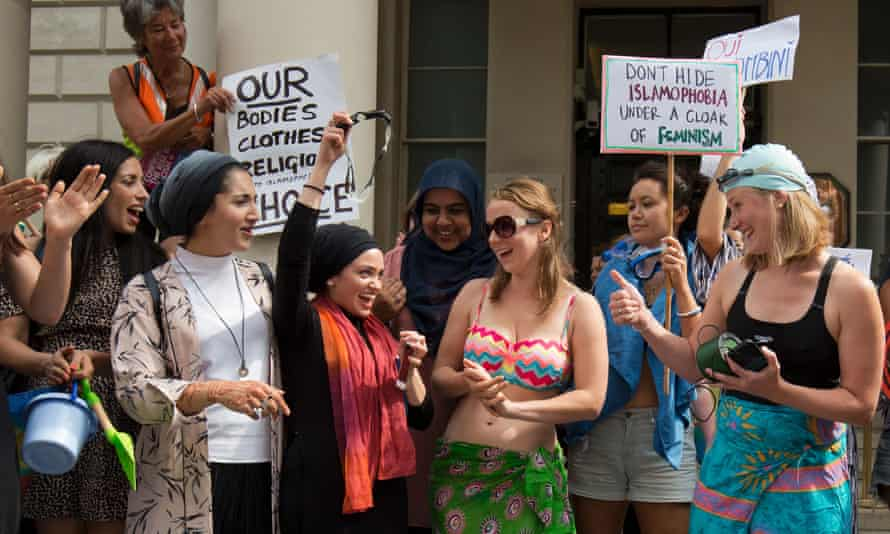 Protesters against the burkini ban, outside the French embassy in London