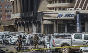 Soldiers outside the Splendid Hotel, after security forces retook the hotel from al-Qaida fighters.