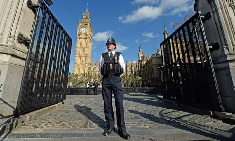 Temporary gates installed at an entrance to the Houses of Parliament, Westminster, after the attack in March.