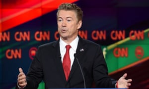 Senator Rand Paul gestures during in the Republican presidential debate.