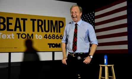 Tom Steyer speaks at a town hall in Davenport, Iowa.