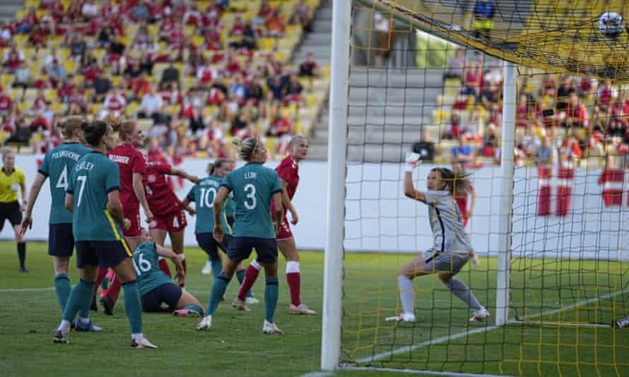 Denmark's Rikke Sevecke scores the second.