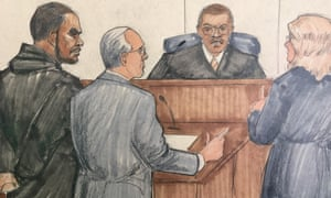In a courtroom sketch, R Kelly, attorney Steve Greenberg and prosecutor Jennifer Gonzalez appear before Cook county judge John Fitzgerald Lyke Jr.
