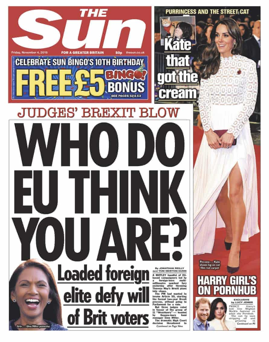 The Sun's 'Harry girl's on Pornhub' front page.