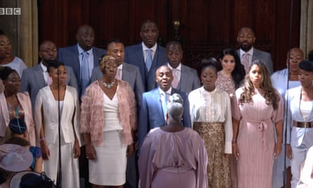 Karen Gibson and the Kingdom Choir at the wedding of Prince Harry and Meghan Markle.