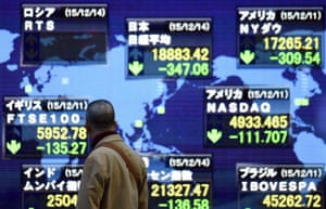 Japan stocks down in wake of US share slump<br>epa05068456 A pedestrian looks at a stock markets indicator board in Tokyo, Japan, 14 December 2015. Shares in Tokyo were down more than 2 per cent in the morning trading session, as the yen strengthened against the dollar, and after US stocks tumbled last week amid fallig crude oil prices. The benchmark Nikkei 225 Stock Average closed losing 347.06 points, or 1.80 per cent, to close for the lunch break at 18,883.42 points. EPA/FRANCK ROBICHON