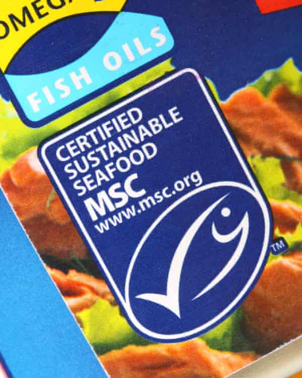 The Marine Stewardship Council logo on a tin of tuna certified as sustainable seafood