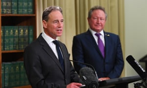 Health minister Greg Hunt and businessman Andrew Forrest hold a press conference in Melbourne, on Wednesday, 29 April to announce Australia has secured an extra 10m Covid-19 test kits and pathology equipment through Forrest's Minderoo Foundation