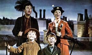 Dick Van Dyke with Julie Andrews, Karen Dotrice and Matthew Garber in Mary Poppins.