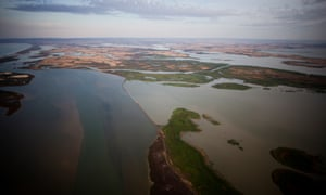 Barrages separating Lake Alexandrina from the saltwater of the Coorong near the mouth of the Murray River