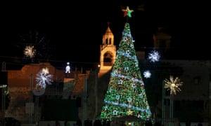The Christmas tree in Bethlehem, beside the Church of Nativity.