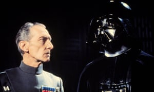 Peter Cushing as Grand Moff Tarkin with Darth Vader in Star Wars: A New Hope, 1977.