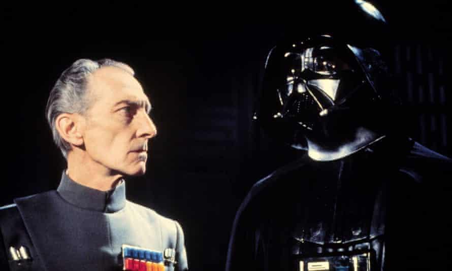 Peter Cushing, left, in the original Star Wars (1977).