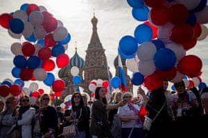 Moscow, Russia Trade unionists holding balloons and flags parade on Red Square