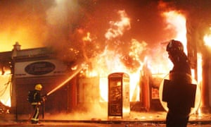 A building burns in Tottenham, north London, during the 2011 riots.