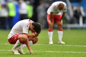 Denmark's midfielder Thomas Delaney is dejected at the final whistle in Samara.
