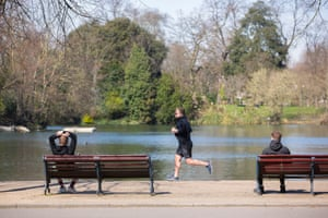 Social distancing at a park in east London.