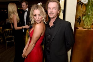 Kaley Cuoco and David Spade attend HBO's Official Golden Globe Awards After Party