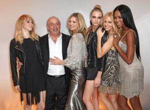 Launch of the Kate Moss for Topshop Collection in 2014 … from left, Suki Waterhouse, Philip Green, Kate Moss, Cara Delevingne, Sienna Miller and Naomi Campbell.