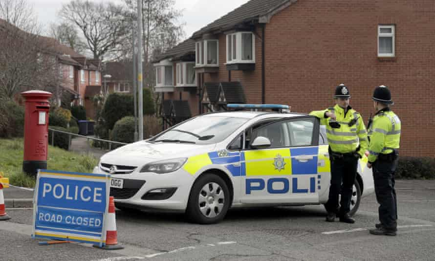 The police cordon at the end of the Skripal's street in Salisbury.