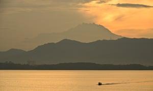 Mount Kinabalu as seen from Gaya island in Malaysian Borneo.