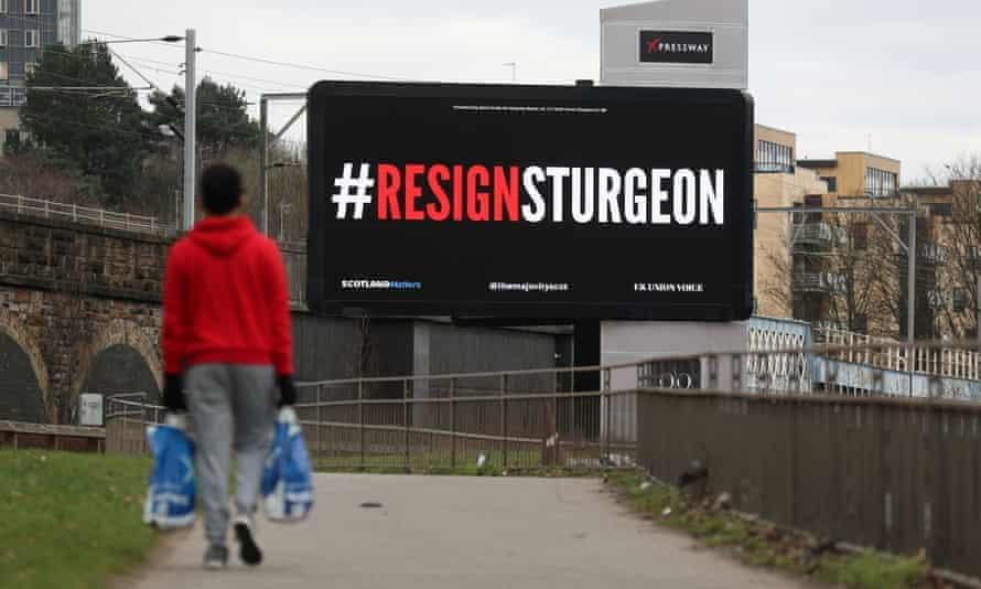 Billboard saying '#ResignSturgeon'
