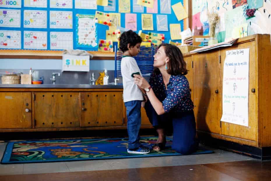 Maggie Gyllenhaal and Parker Sevak  in The Kindergarten Teacher.