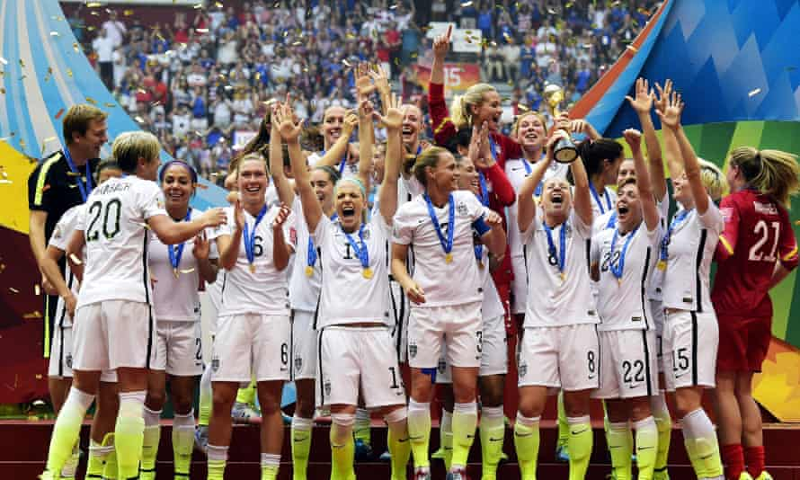 USA players celebrate their victory in 2015.
