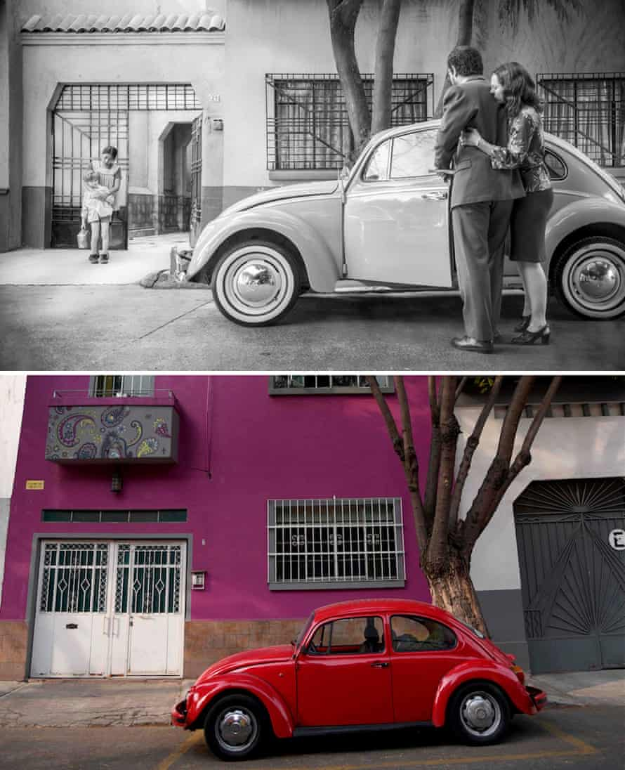 Scene from Roma, set in 1970 Mexico City, and a contemporary shot of the same neighbourhood.