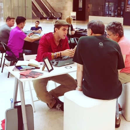 Brian Sonia-Wallace talks to visitors at the Mall of America.