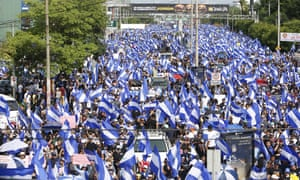Tens of thousands of dissenters marched in the streets of Nicaragua's capital, Managua, to protest Daniel Ortega's 11-year reign.